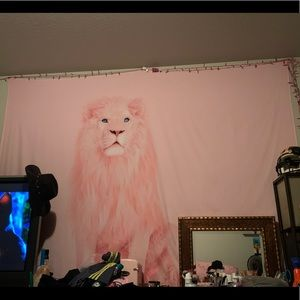 Pink lion tapestry